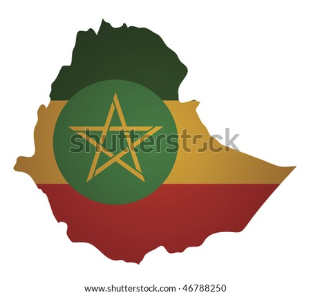 some old vintage map with flag of ethiopia