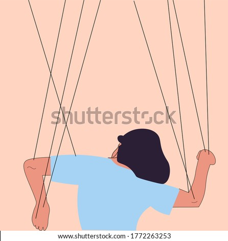 Someone manipulates and abuses a woman. Toxic relationships. Flat vector illustration. Manipulations. Marionette Foto stock ©