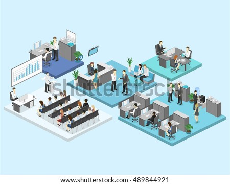 sometric flat 3d abstract office floor interior departments concept vector. conference hall, offices, workplaces, director of the office interior