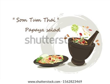 Somtum Papaya salad thailand.Papaya salad and ingredients on white background.Thai food vector. Zdjęcia stock ©