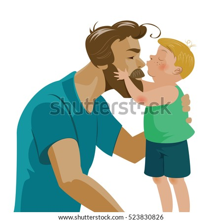 son kissing his dad and kisses