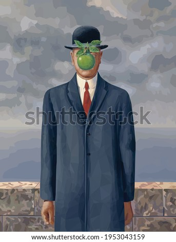 Son of a Man - Rene Magritte painting digital reproduction in Low Poly style. Conceptual Polygonal Vector Illustration.