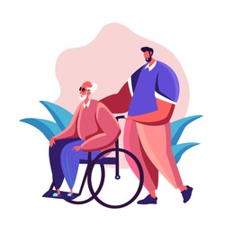 Son walks with his old disabled father in the wheelchair caring for him Family support concept illustration Happy Senior man strolling with his relative receiving help and care Inscription, text