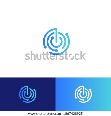 Sonar or radar vector logo concept. Business scanner or indicator isolated icon. Round blue linear logotype for tracked and reported technology service, business security app