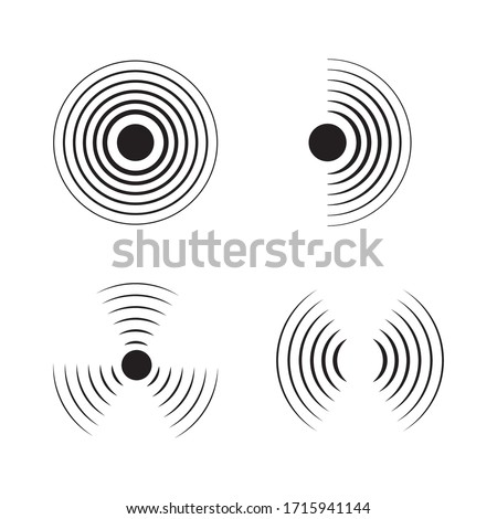 Sonar signal wave vector icon. Round pulse, sonic frequency. Graphic energy, radial pulse sign on isolated background. Black simple target circle. Radar icon. Abstract loud sound simbol