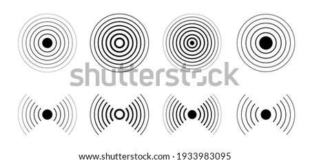 Sonar sound waves icon set. Vector.
