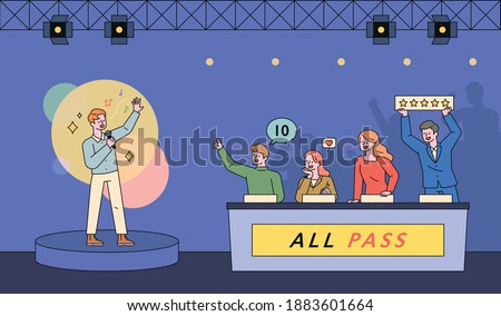 Song contest television show scene. A man is singing on stage and the judges are giving points. flat design style minimal vector illustration. Photo stock ©