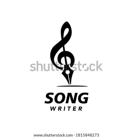 Song Writer Logo Symbol Treble Clef and Nib Pen Simple Symbol  Stock photo ©