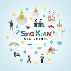 Songkran festival 2021. Concept new normal. Thai people fight virus concept. People wear facemask during covid-19