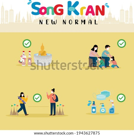 Songkran festival 2021. New normal concept. Sprinkle water on to a Buddha statue, pour water on the hands of revered elders and ask for blessing, social distancing and alcohol spray