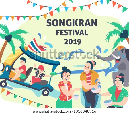 Songkran festival, people playing water surrounded with elephant and tuk tuk or Thai taxi, water festival elements, illustration, vector