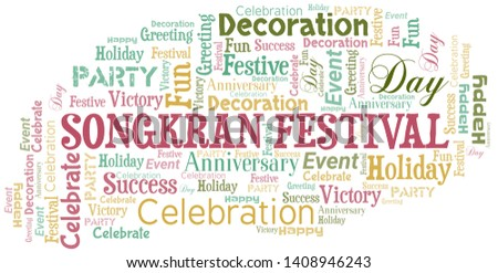 Songkran Festival Word Cloud. Word cloud Made With Text.