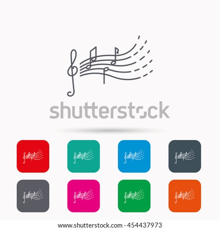 Songs for kids icon. Musical notes, melody sign. G-clef symbol. Linear icons in squares on white background. Flat web symbols. Vector