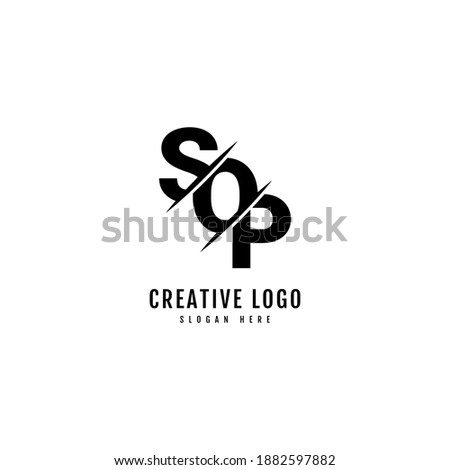 SOP letter combination logo with slash concept. Typography for company and business logo. Stock fotó ©