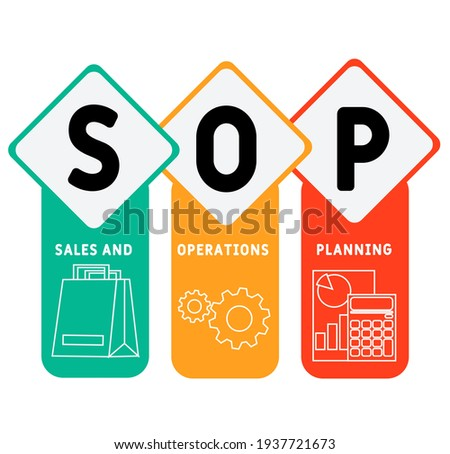 SOP - Sales and Operations Planning acronym. business concept background.  vector illustration concept with keywords and icons. lettering illustration with icons for web banner, flyer, landing page Stock fotó ©