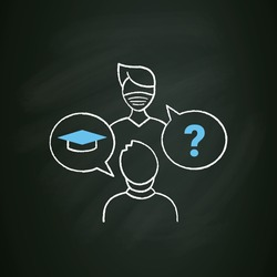 Sophomore chalk icon. Second-year student. Discussion between two people. Professional development. Graduation concept. Isolated vector illustration on chalkboard