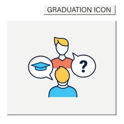 Sophomore color icon. Second-year student. Discussion between two people. Professional development. Graduation concept.Isolated vector illustration