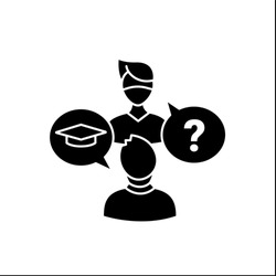 Sophomore glyph icon. Second-year student. Discussion between two people. Professional development. Graduation concept.Filled flat sign. Isolated silhouette vector illustration