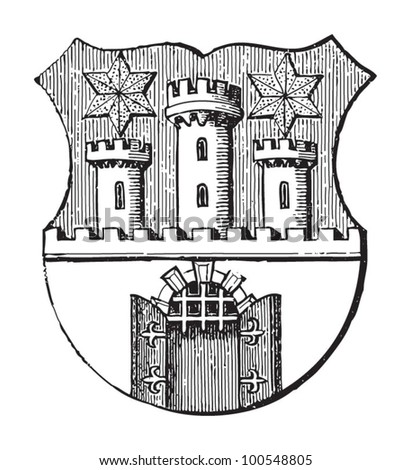 Sopron coat of arms (city in Hungary ) / vintage illustration from Meyers Konversations-Lexikon 1897