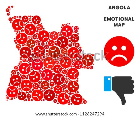 Sorrow Angola map collage of sad smileys in red colors. Negative mood vector template of crisis regions. Angola map is organized from red sorrow icons. Abstract territorial plan.