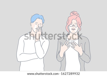 Sorrow, loss, crying, stress set concept. Young couple cries, feeling sorrow. Grievous loss raises stress level. Man and woman sorrow and weep. Boy and girl cant stop shed tears. Simple flat vector