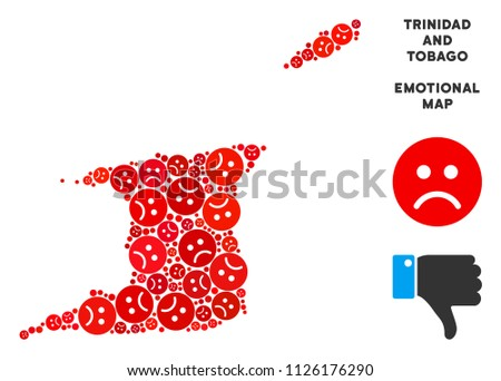 Sorrow Trinidad and Tobago map composition of sad emojis in red colors. Negative mood vector template of depression regions. Trinidad and Tobago map is shaped with red sorrow emotion symbols.
