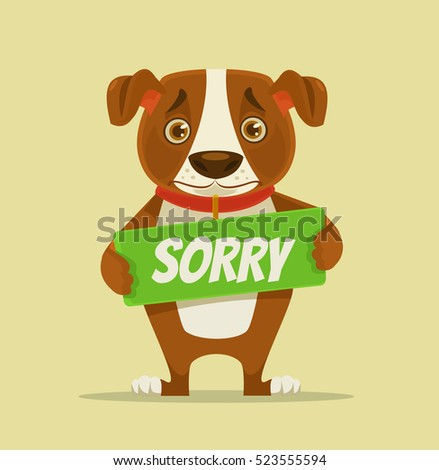 Sorry dog character hold apology plate. Vector flat cartoon illustration