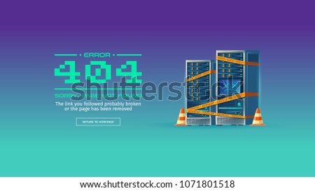 Sorry, page not found, 404 error vector concept illustration. Website is on maintenance or under construction, homepage is broken. Blue cartoon background with server equipment and yellow warning tape