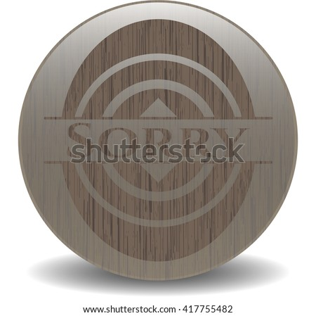Sorry retro style wooden emblem