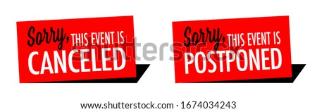 Sorry this event is canceled or postponed on sticker Stockfoto ©