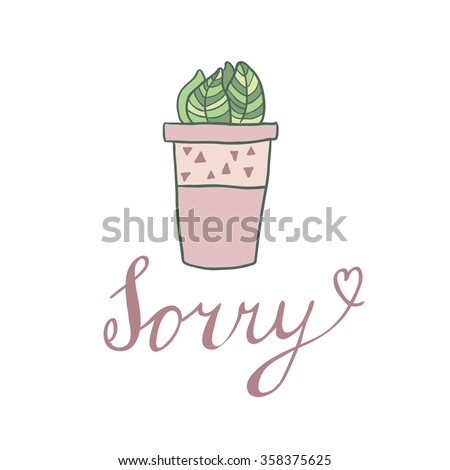 sorry  vector card with cute