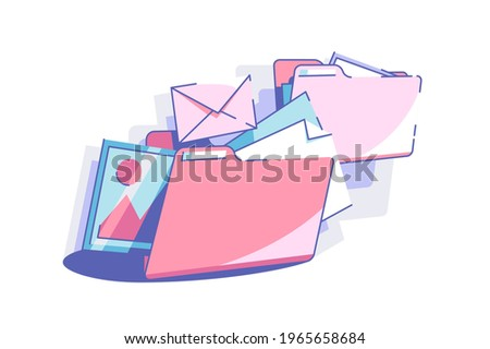 Sort out files to folders vector illustration. Colourful envelopes and folders in mess flat style. Space organizing and management concept. Isolated on white background