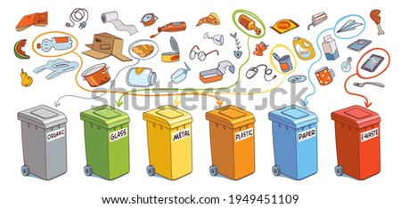 Sort the garbage in correct trash cans. Organic, Glass, Metal, Plastic, Paper, E-Waste. Vector illustration. Panorama. Isolated on white background Сток-фото ©