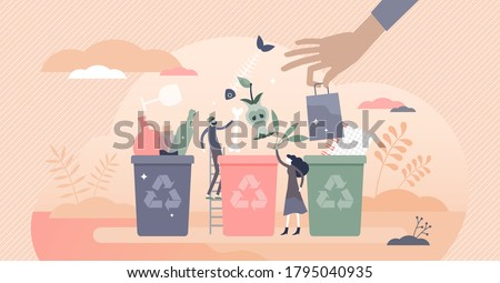 Sorting garbage containers to separate waste and trash tiny persons concept. Environmental ecological solution to save nature with glass, paper, organic and plastic segregation vector illustration. Stock foto ©