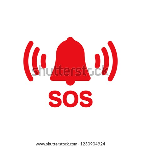 SOS bell red vector icon Stockfoto ©