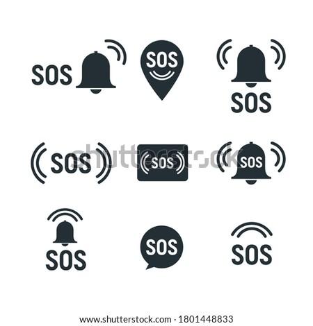 Sos icon emergency alarm button. SOS sign symbol lifebuoy rescue isolated marker Stockfoto ©