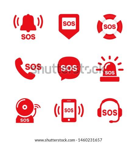 SOS icon set vector illustration red on white background Stockfoto ©