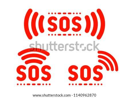 SOS sign, icon, label, marker set. Vector illustration Stockfoto ©