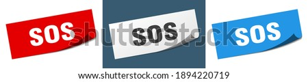 sos sticker set. sos paper peeler sign Stockfoto ©