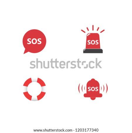 SOS vector icon big set. Alarm. Aed Stockfoto ©