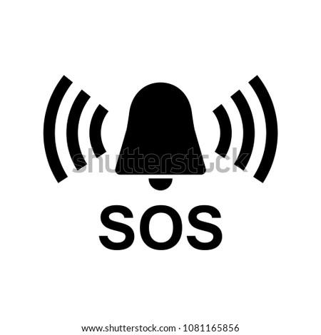 SOS Vector Icon, warning bell, help Stockfoto ©