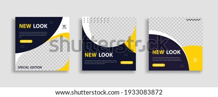 Sosial media post with yellow and black background. For internet ads, web and digital promotion. Vector illustration