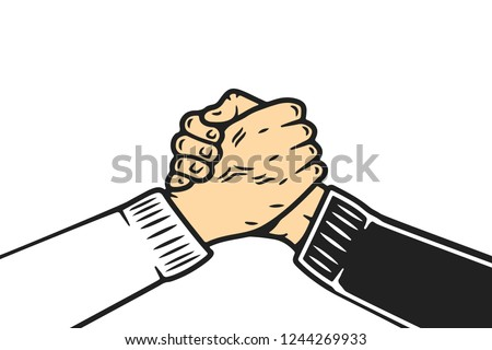 Soul brother handshake, thumb clasp handshake or homie handshake, cartoon style on isolated white background
