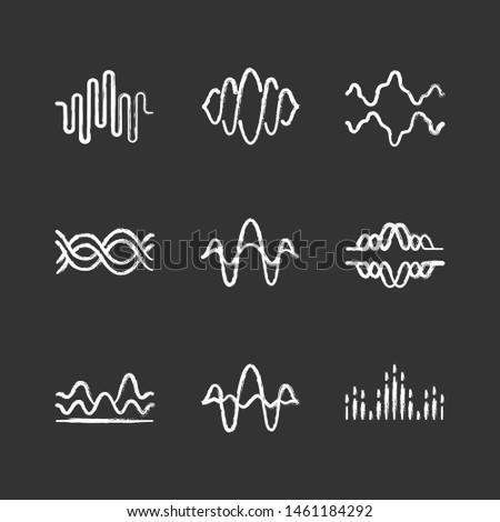 Sound and audio waves chalk icons set. Voice recording, radio signal waveforms. Digital soundwaves. Melody amplitudes level. Dj equalizer, soundtrack frequency. Isolated vector chalkboard illustration