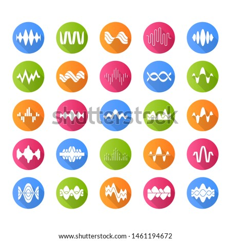 Sound and audio waves flat design long shadow glyph icons set. Music digital curve soundwaves. Voice recording, radio signals. Vibration, noise amplitudes level. Vector silhouette illustration