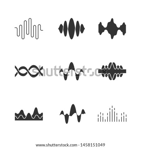 Sound and audio waves glyph icons set. Silhouette symbols. Voice recording, radio signal waveforms. Digital soundwaves. Melody amplitudes levels. Dj equalizer frequency. Vector isolated illustration