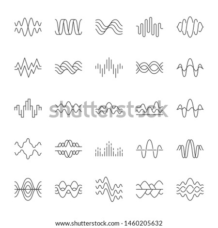 Sound and audio waves linear icons set. Music digital curve soundwaves. Voice recording. Vibration, noise amplitudes. Thin line contour symbols. Isolated vector outline illustrations. Editable stroke