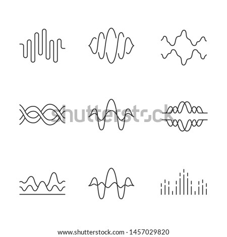 Sound and audio waves linear icons set. Voice recording, radio signal. Digital soundwaves. Melody amplitudes levels. Thin line contour symbols. Isolated vector outline illustrations. Editable stroke