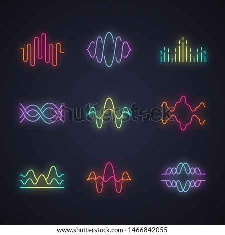 Sound and audio waves neon light icons set. Glowing signs. Voice recording, radio signal waveforms. Digital soundwaves. Melody amplitudes levels. Dj equalizer frequency. Vector isolated illustrations