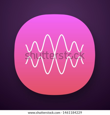 Sound, audio wave app icon. Vibration, noise amplitude. Music rhythm frequency. Radio signal, voice recording logo. UI/UX user interface. Web or mobile application. Vector isolated illustration